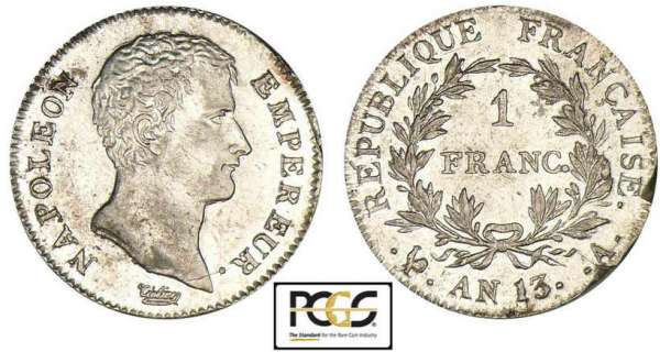 1 franc Napolon empereur - An 13 A (Paris)