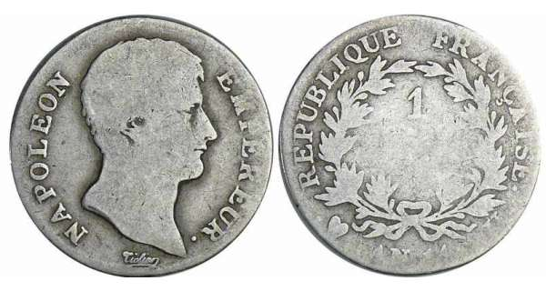 1 franc Napolon empereur - An 14 U (Turin)