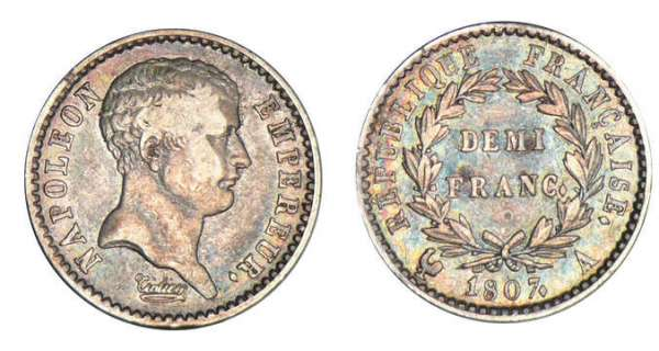 1/2 franc Napolon Ier tte nue - tte de ngre 1807 A (Paris)