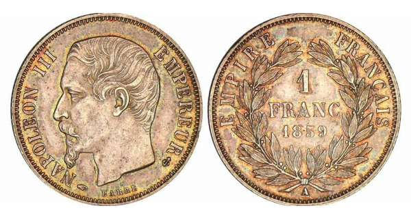 1 franc Napolon III tte nue - 1859 A (Paris)