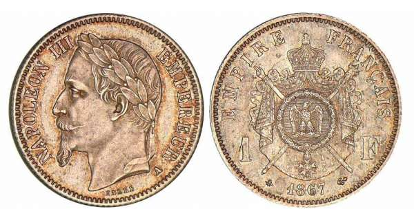 1 franc Napolon III tte laure - 1867 A (Paris)