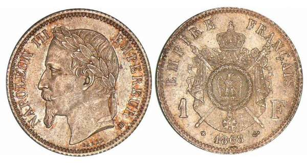 1 franc Napolon III tte laure - 1868 BB (Strasbourg)