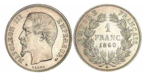 1 franc Napolon III tte nue - 1860 A (Paris) abeille