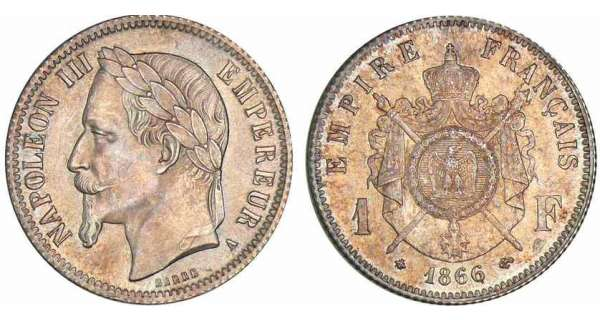1 franc Napolon III tte laure - 1866 A (Paris)