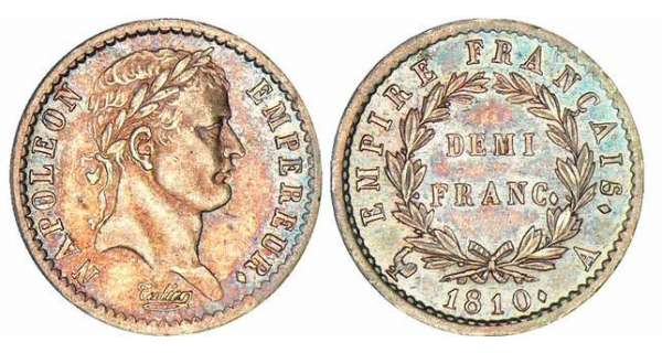 1/2 franc Napolon revers empire - 1810 A (Paris)