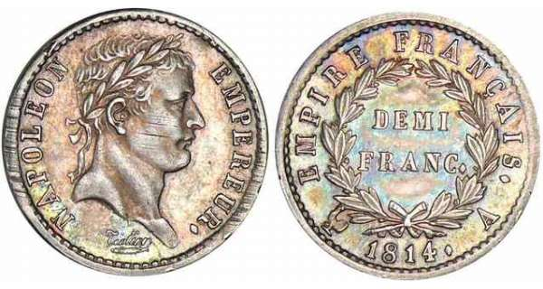 1/2 franc Napolon revers empire - 1814 A (Paris)