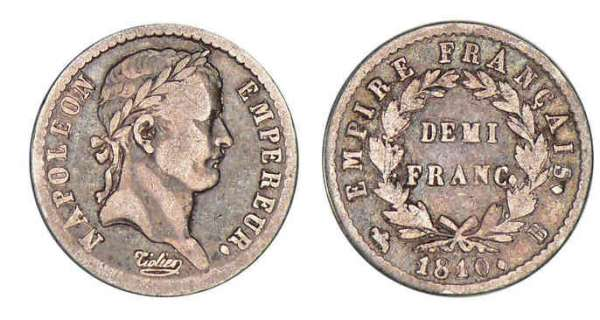 1/2 franc Napolon revers empire 1810 B (Rouen)