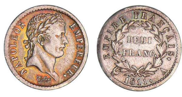 1/2 franc Napolon revers empire 1811 A (Paris)