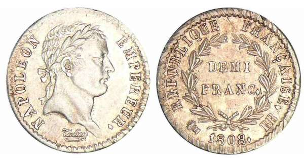 1/2 franc Napolon revers rpublique - 1808 BB (Strasbourg)