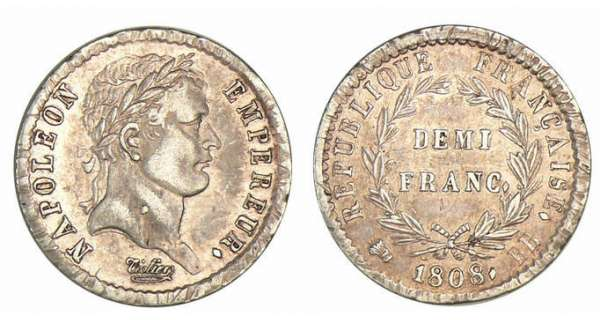 1/2 franc Napolon revers Rpublique 1808 BB (Strasbourg)