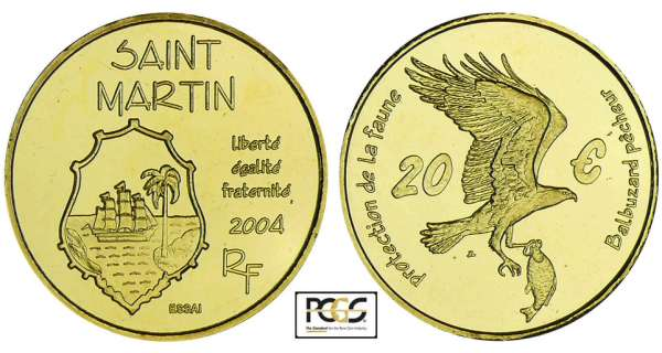 France - Saint Martin - Protection de la faune - 20 euro 2004 - essai
