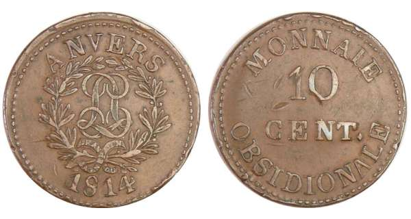 France - Siège d'Anvers (Louis XVIII) 10 centimes 1814