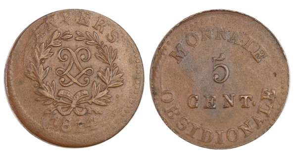France - Siège d'Anvers (Louis XVIII) 5 centimes 1814