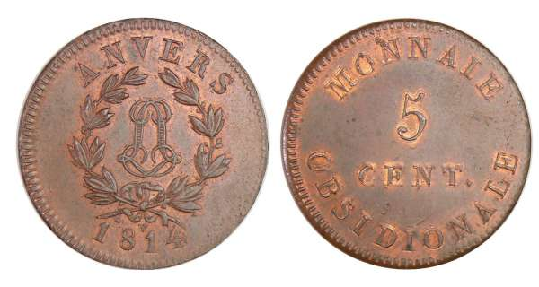 France - Siège d'Anvers (Louis XVIII) 5 centimes 1814 v