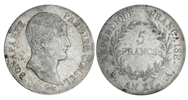 5 francs Bonaparte premier consul - An XI A (Paris)