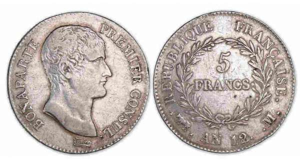 5 francs Bonaparte Premier Consul An 12 M (Toulouse)