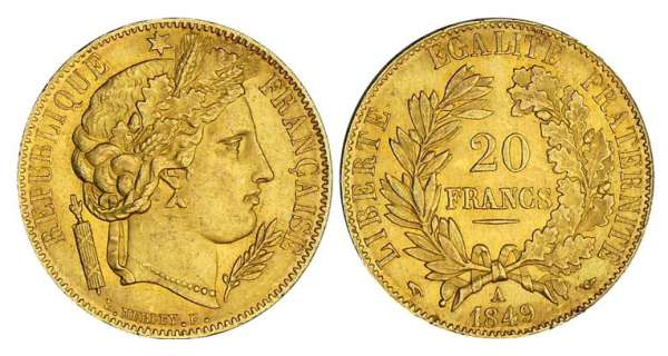20 francs Cérès - 1849 A (Paris)