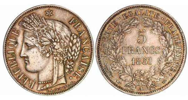 5 francs Crs - 1851 A (Paris)