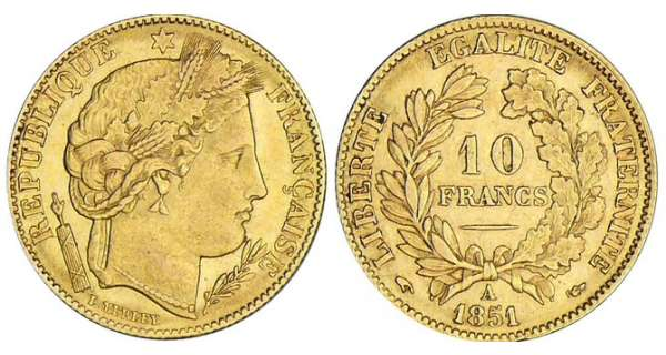 10 francs Cérès - 1851 A (Paris)