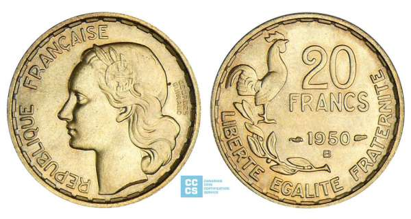 20 francs Georges Guiraud - 1950 B (3 plumes)
