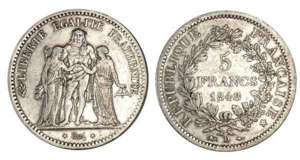 5 francs Hercule 1848 D (Lyon)