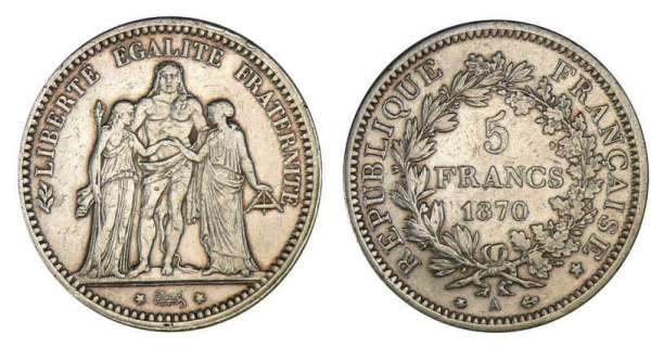 5 francs Hercule 1870 A (Paris)