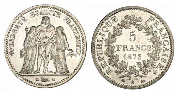 5 francs Hercule 1873 A (Paris)