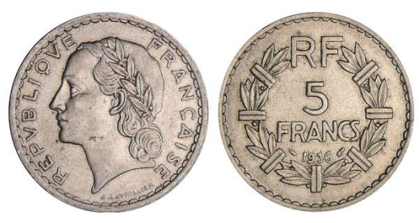 5 francs Lavrillier nickel - 1936