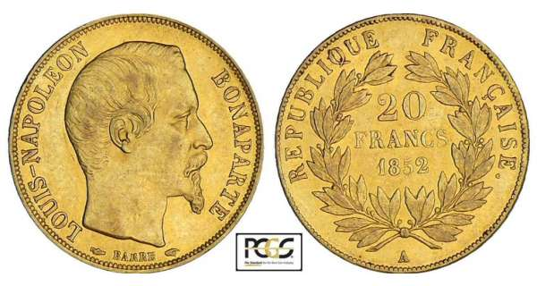 20 francs Louis Napoléon Bonaparte - 1852 A (Paris)