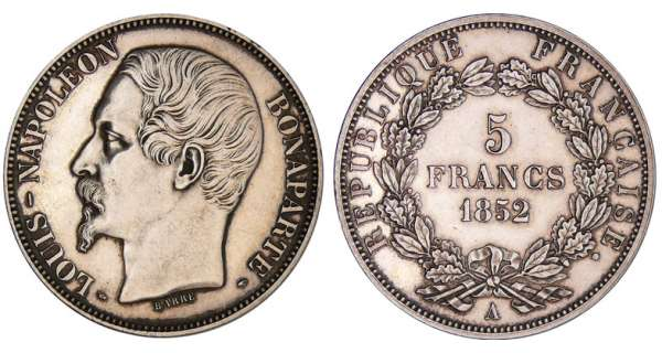 5 francs Louis Napoléon Bonaparte - 1852 A (Paris)