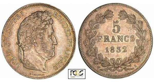 5 francs Louis-Philippe Ier - tte laure - 2me type - 1832 I (Limoges)