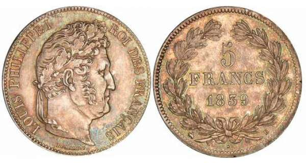 5 francs Louis-Philippe Ier - tte laure - 2me type - 1839 B (Rouen)