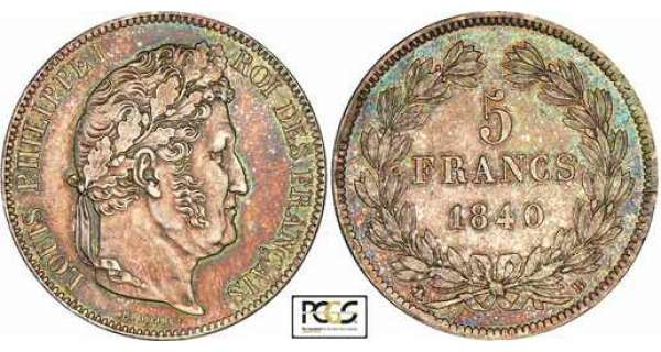 5 francs Louis-Philippe Ier - tte laure - 2me type - 1840 BB (Strasbourg)