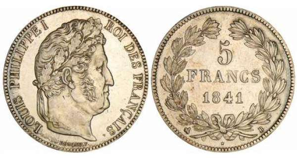 5 francs Louis-Philippe Ier - tte laure - 2me type - 1841 B (Rouen)