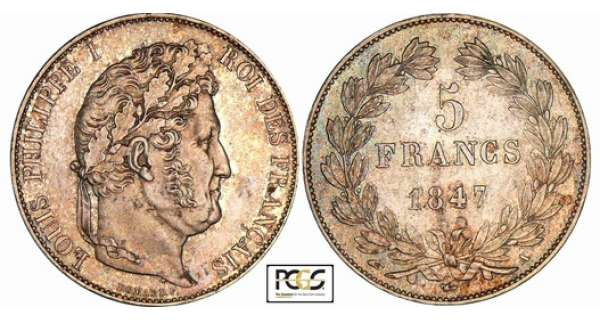 5 francs Louis-Philippe Ier - tte laure - 3me type - 1847 A (Paris)