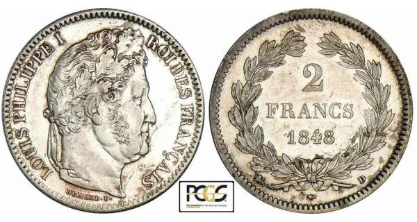 2 francs Louis-Philippe Ier - 1848 D (Lyon)