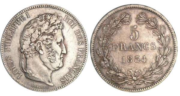 5 francs Louis-Philippe Ier - tte laure - 2me type 1834 B (Rouen)