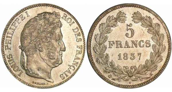 5 francs Louis-Philippe Ier - tte laure - 2me type 1837 K (Bordeaux)