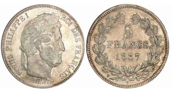 5 francs Louis-Philippe Ier - tte laure - 2me type 1837 W (Lille)