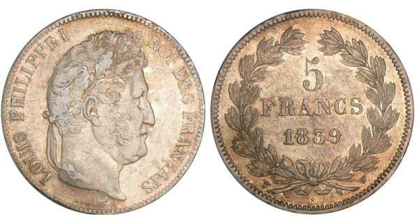 5 francs Louis-Philippe Ier - tte laure - 2me type 1839 W (Lille)