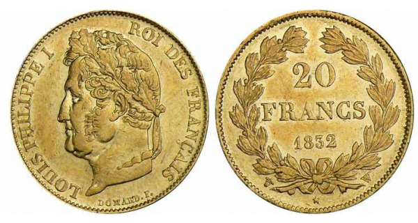 20 francs Louis-Philippe Ier - tte laure - 1832 W (Lille)