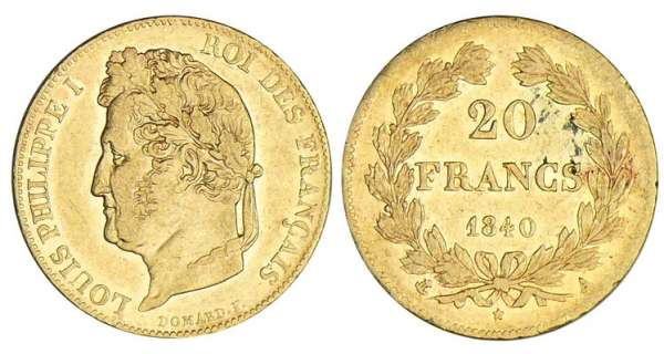 20 francs Louis-Philippe Ier  tte laure - 1840 A (Paris)