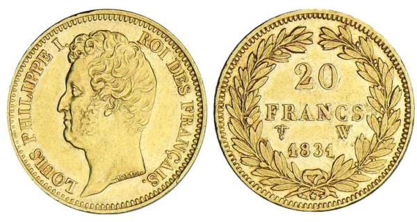 20 francs Louis-Philippe Ier tte nue - tranche en relief - 1831 W (Lille)