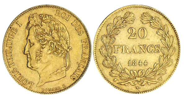 20 francs Louis-Philippe Ier tte laure - 1844 W (Lille)