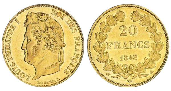 20 francs Louis-Philippe Ier tte laure - 1848 A (Paris)