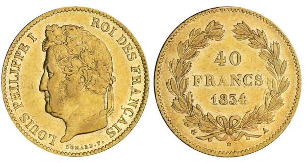 40 francs Louis-Philippe Ier - 1834 A (Paris)