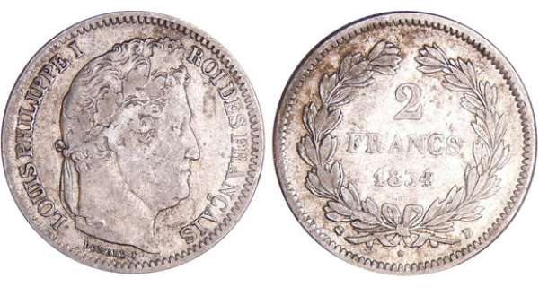 2 francs Louis-Philippe Ier - 1834 D (Lyon)
