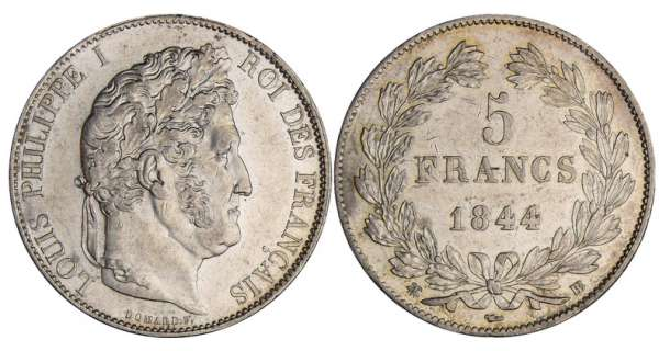 5 francs Louis-Philippe Ier - tte laure - 3me type - 1844 BB (Strasbourg)