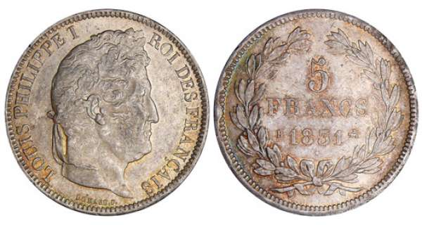 5 francs Louis-Philippe Ier - tte laure - 1er type - tranche en relief 1831 B (Rouen)
