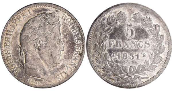 5 francs Louis-Philippe Ier - tte laure - 1er type - tranche en relief 1831 A (Paris)